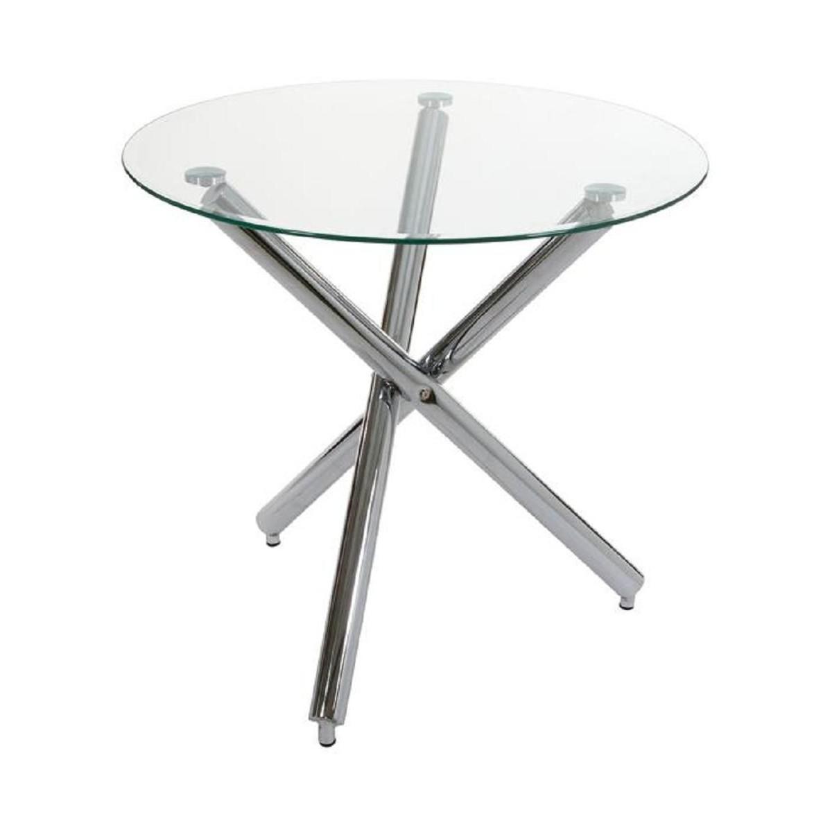 Mesa de comedor moderna redonda cristal de santiago pons - Mesa comedor cristal redonda ...