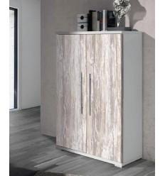 Zapatero moderno blanco y madera vintage de Pelayo - MEDEL