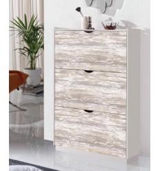 Zapatero moderno blanco y madera vintage de Pelayo - PANGEA