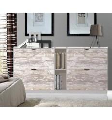 Zapatero moderno blanco y madera vintage Pelayo - TEIDE