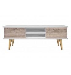 Mueble de Televisión moderno blanco y maderade Pelayo - SNOW