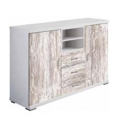 Mueble de Televisión color blanco y madera de Pelayo - NUENDO