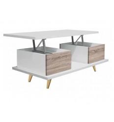 Mesa de centro abatible color blanca y madera de Pelayo - RIO