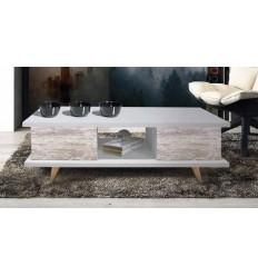 Mesa centro abatible color blanca y madera vintage de Pelayo - RIO
