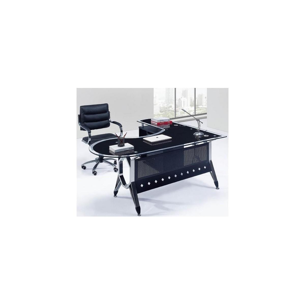 Mesa de oficina cristal con ala izquierda 180x85 sdm for Mesas de despacho de cristal