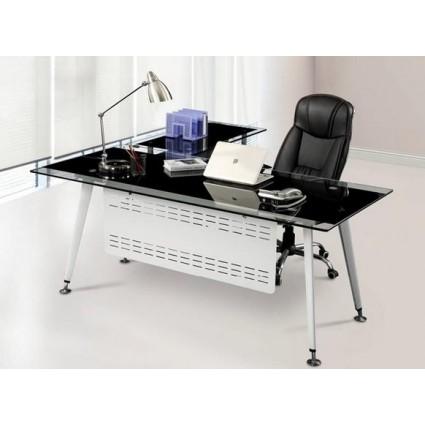 Mesa de oficina cristal moderna 180x85 cms de sdm doha 180d - Mesas de despacho de cristal ...