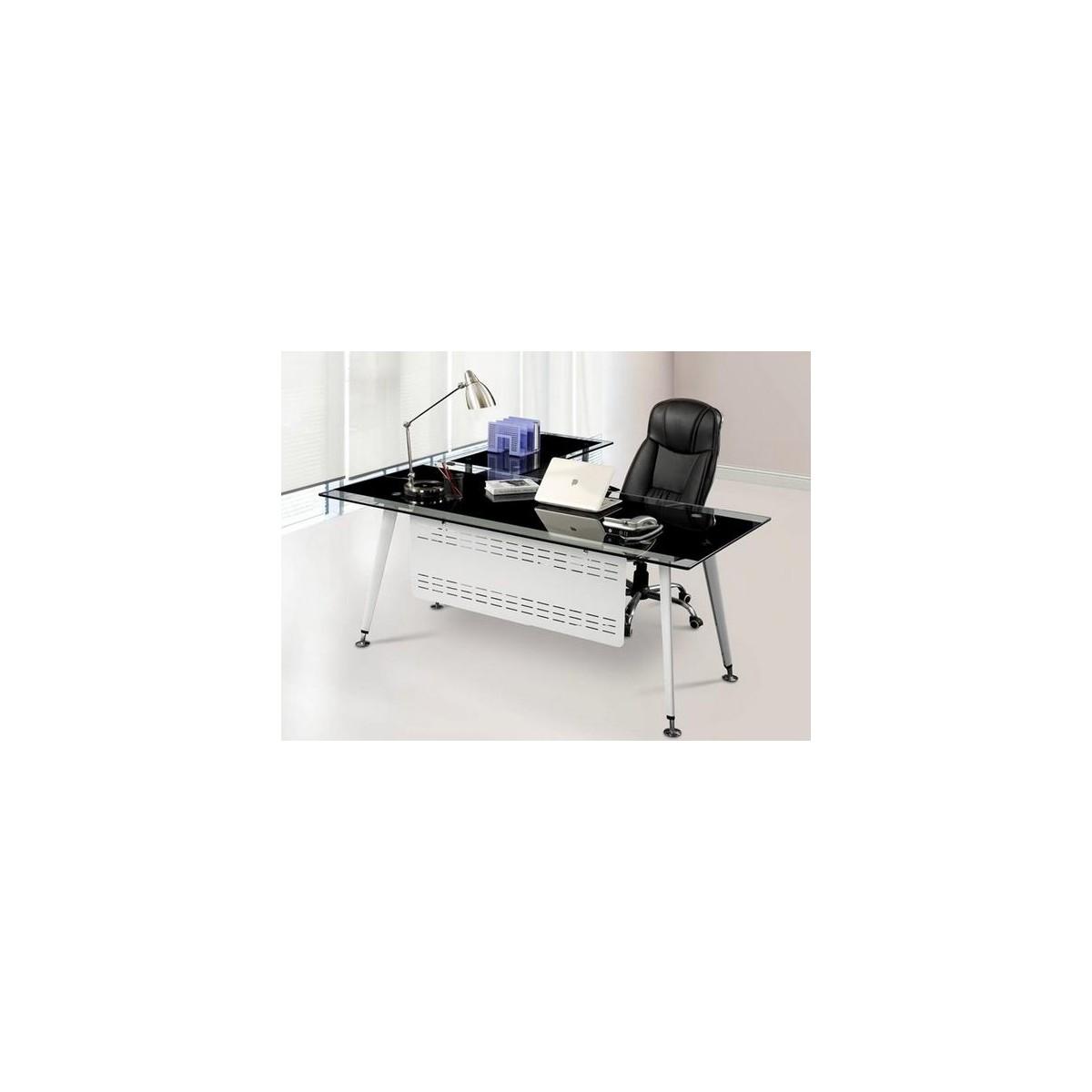 Mesa de oficina cristal moderna 180x85 cms de sdm doha 180d for Mesa oficina moderna