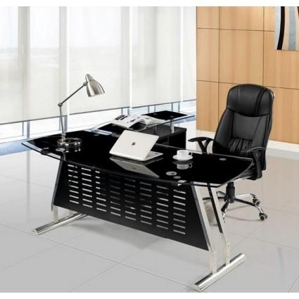 Mesa oficina cristal negro ala derecha 180x85 cms de SDM - EVIAN-D180