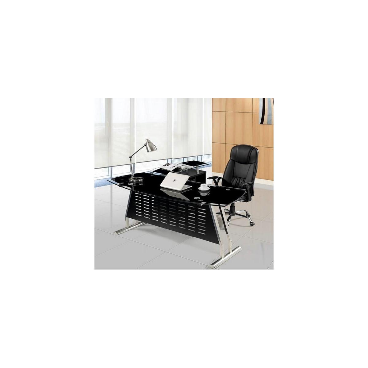 Mesa oficina cristal negro ala derecha 180x85 cms de sdm for Mesa cristal oficina