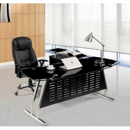 Mesa oficina cristal negra izquierda 180x85 cms de SDM - EVIAN-I180