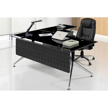 Mesa oficina cristal negro 180x85 cms de sdm gort 180d - Mesas de despacho de cristal ...