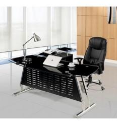 Mesa oficina cristal negro ala derecha 160x80 cms de SDM - BASILEA