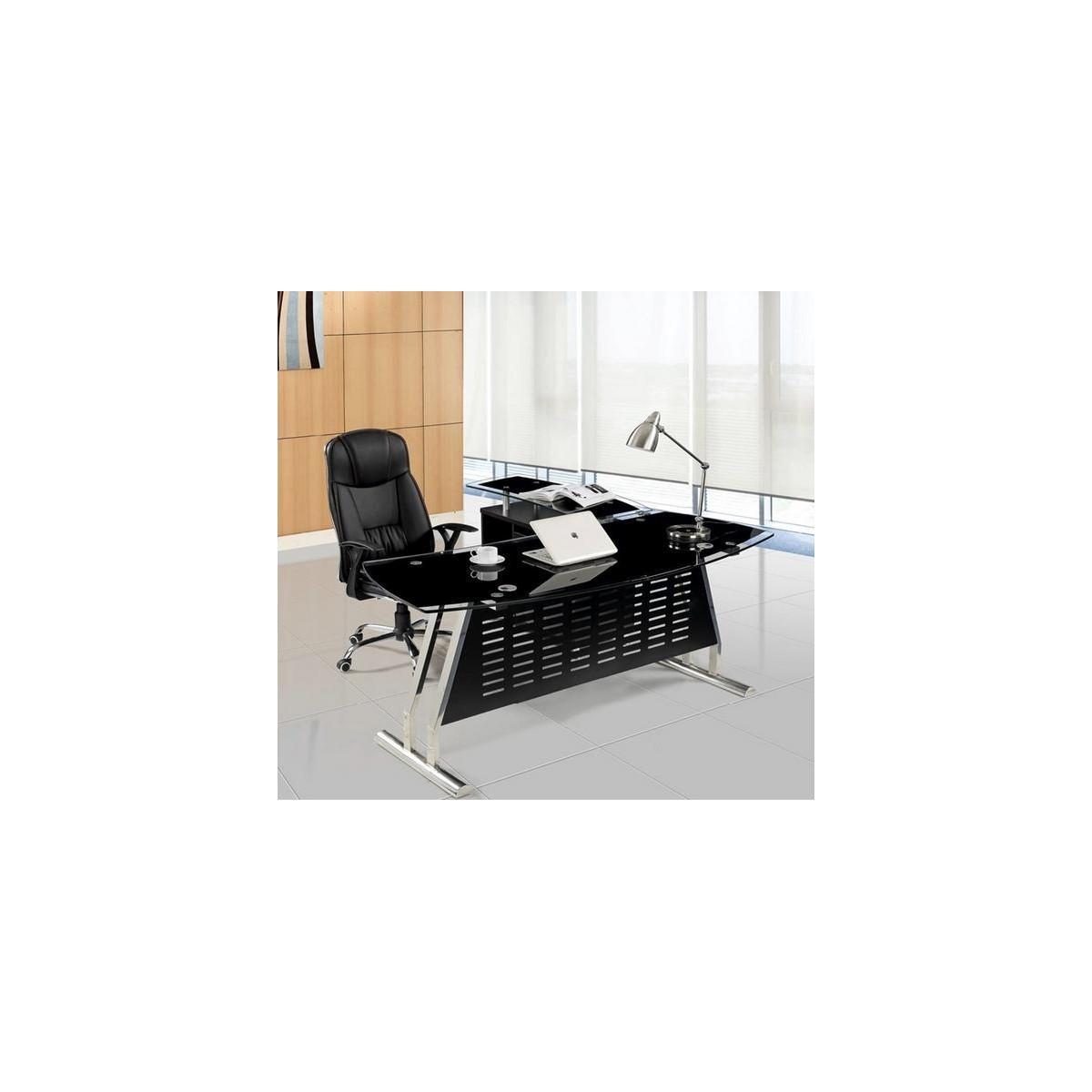 Mesa oficina cristal negra izquierda 160x80 cms de SDM - EVIAN-I160