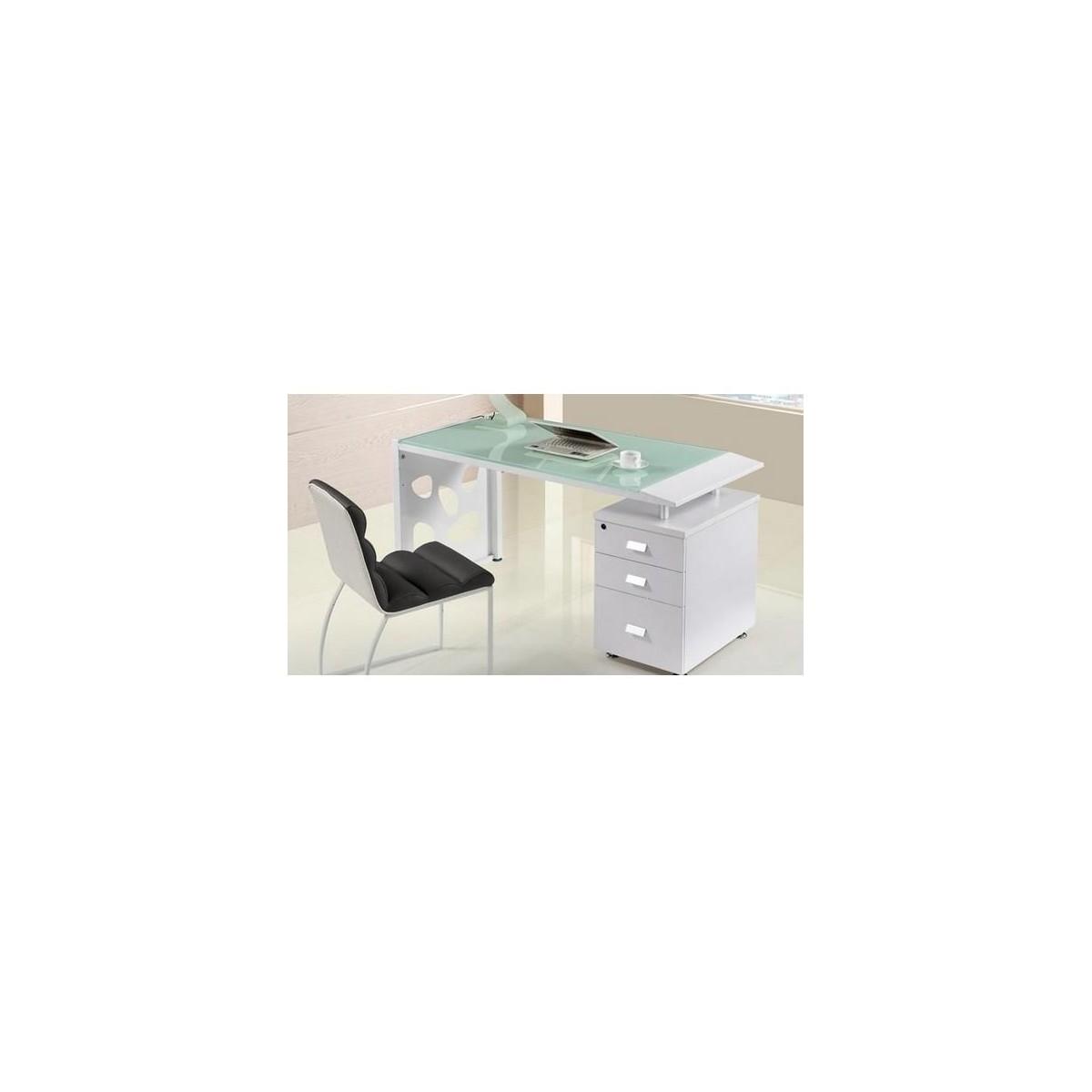 Mesa de oficina con cristal y cajonera de sdm jackie 140 for Mesas de despacho de cristal