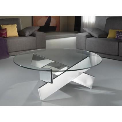 Mesa de centro moderna acero y cristal de Schuller - DENVER