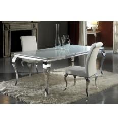 Mesa de comedor acero y cristal de Schuller - BARROQUE