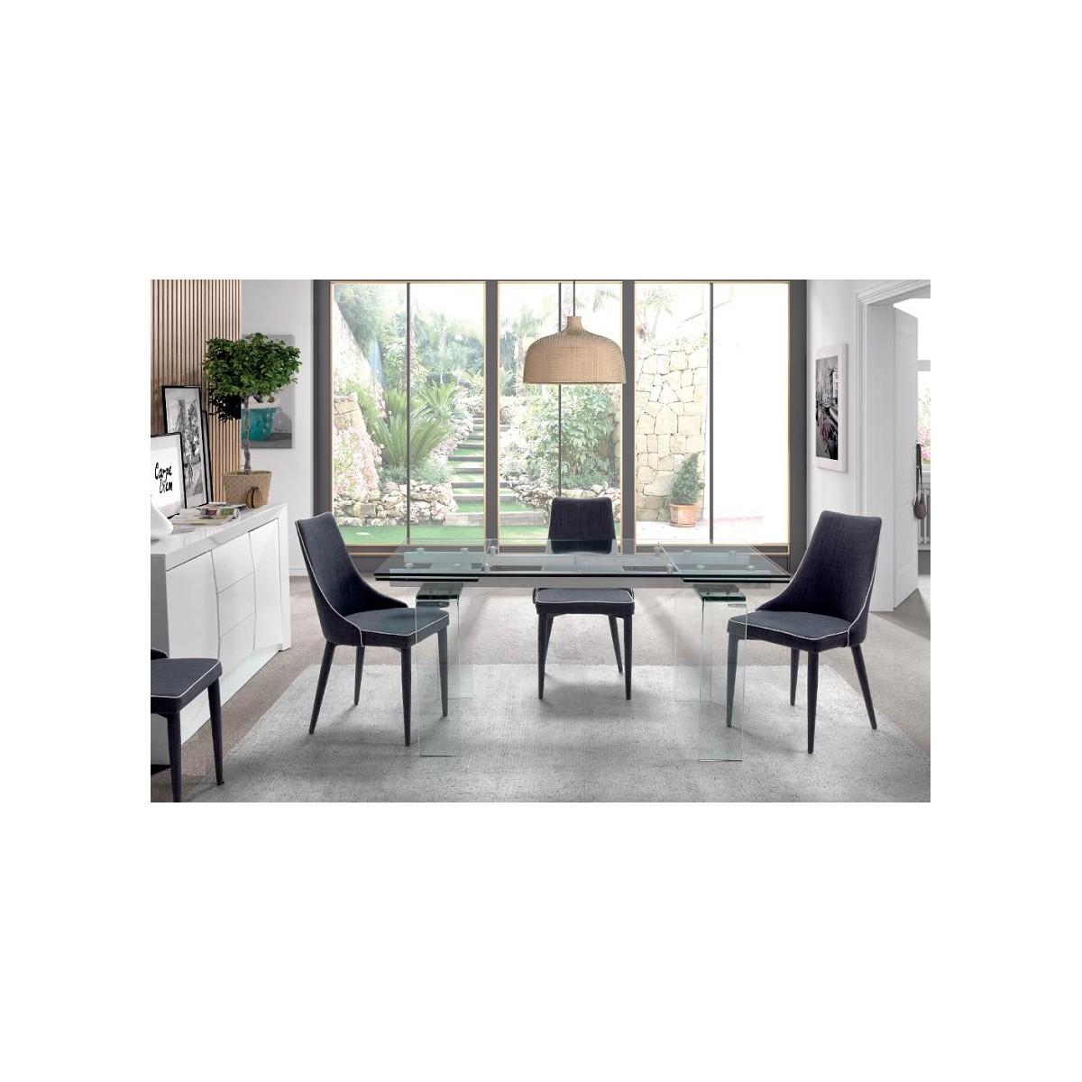 Mesa de comedor extensible cristal moderna de camino a for Camino a casa muebles