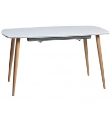 Mesa de comedor extensible nórdica blanca de Marckeric - LENA