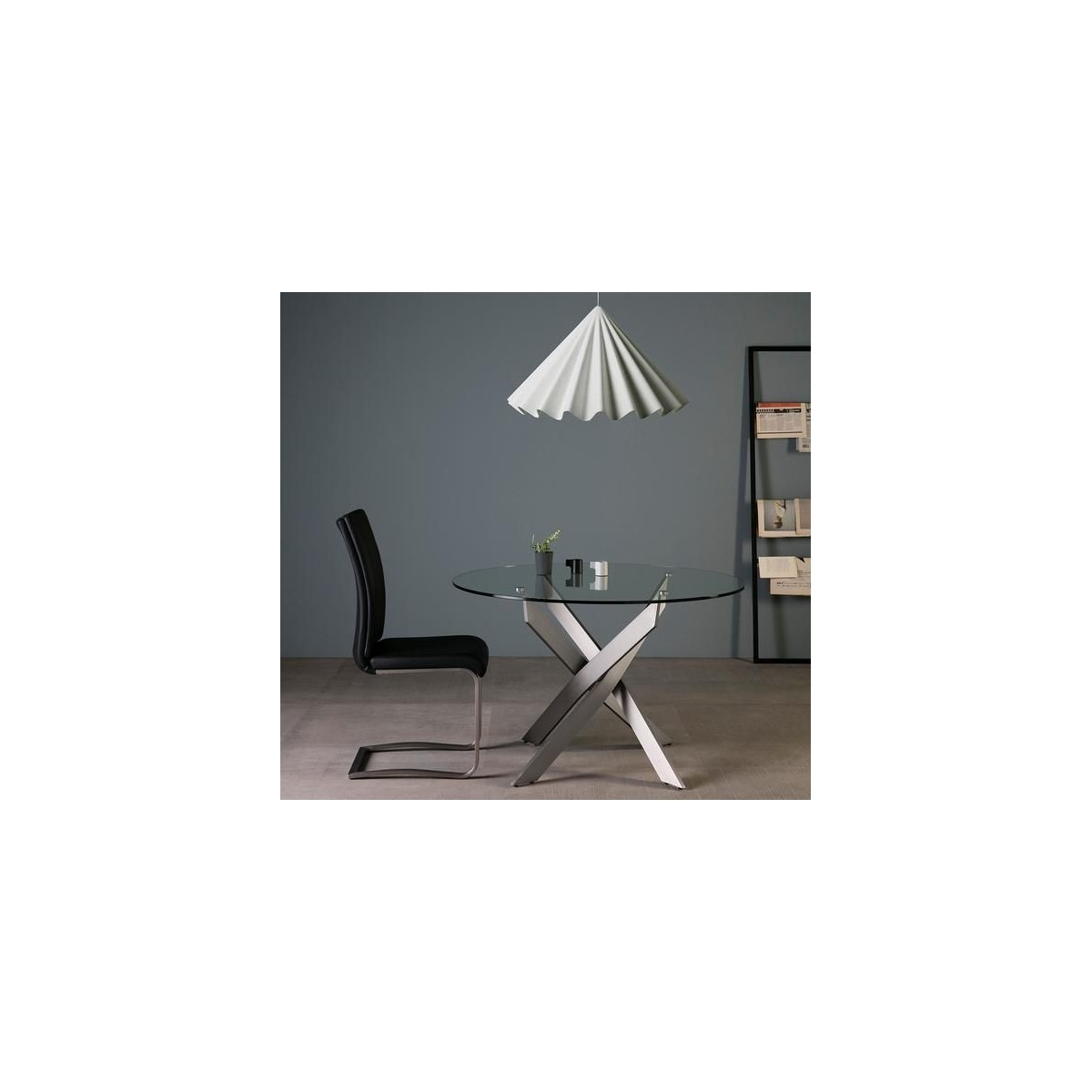 Mesa redonda moderna acero y cristal de marckeric michelle for Mesas redondas de cristal y acero