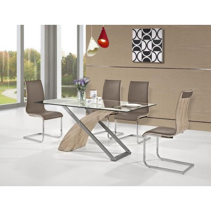 Pack Ahorro Mesa comedor + 4 sillas marrones de Marckeric - ARAMIS