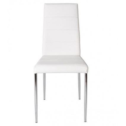 Silla moderna polipiel blanca acero cromado de Marckeric - ALTEA