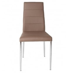 Silla moderna polipiel marrón acero cromado de Marckeric - ALTEA
