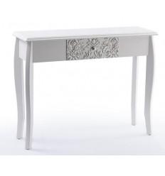 Consola blanca y plata de madera con un cajón - GANNA