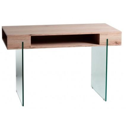 Mesa de escritorio moderna de cristal y madera - CELINE