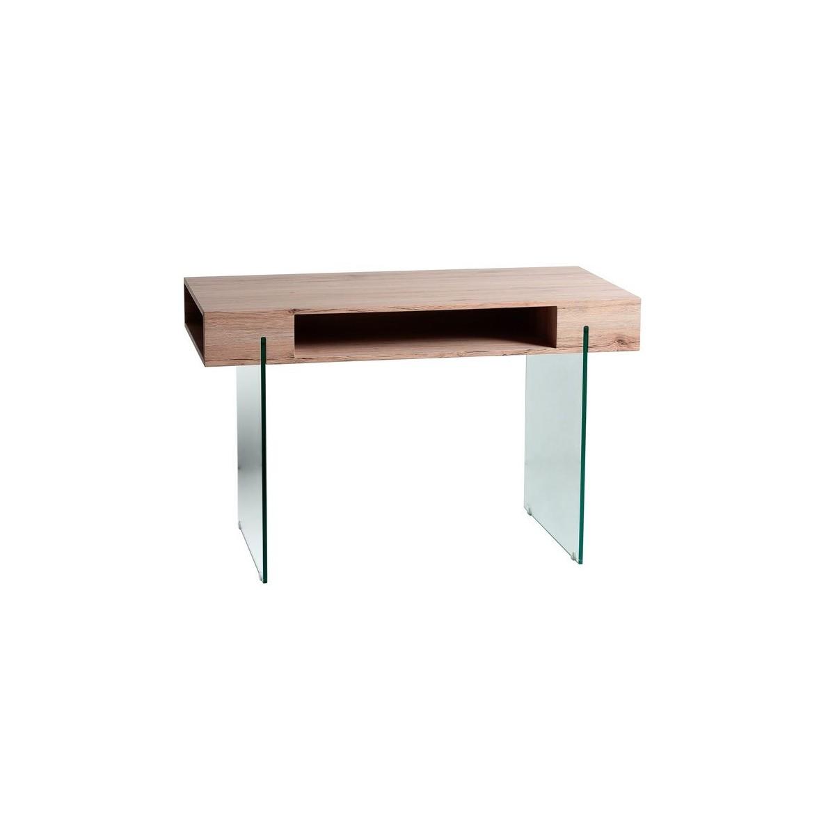 Mesa de escritorio moderna de cristal y madera de for Mesa escritorio moderna