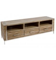 Mesa de Televisión estilo industrial de madera y acero - PARM