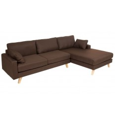 Sofá Chaiselongue estilo moderno tela marón - MILOS