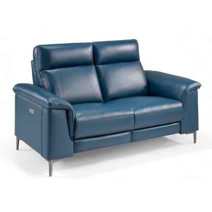 Sofá de piel azul 2 plazas eléctrico relax de Angel Cerdá - 5395-2P
