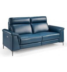 Sofá de piel azul 3 plazas eléctrico relax de Angel Cerdá - 5395-3P