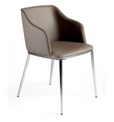 Silla moderna polipiel marrón acero cromado de Angel Cerdá - F3201