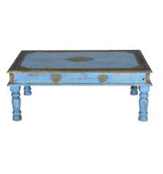 Mesa de centro azul de madera estilo exotico - BOMBAI