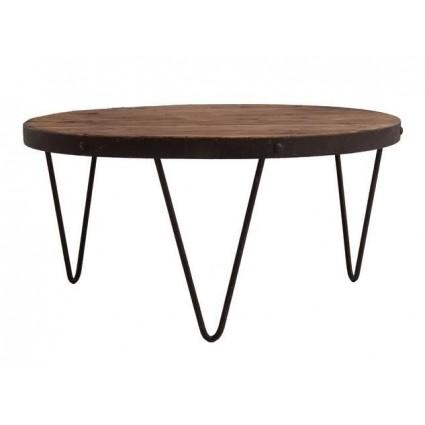 Mesa auxiliar de madera y hierro estilo industrial de Vical Home - SUBURY  ROUND