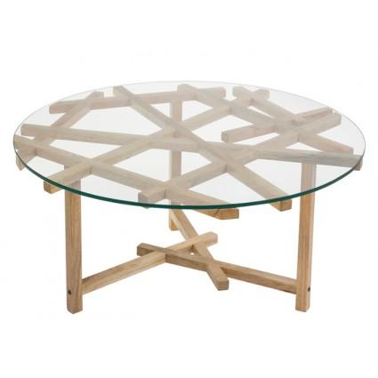 Mesa de centro madera y cristal - VANTE