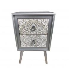 Mesita de noche plata y blanco estilo oriental - AGRA