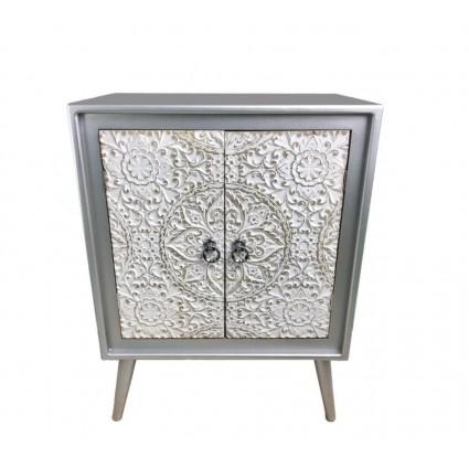 Aparador estilo oriental blanco y plata - AGRA