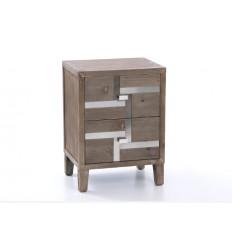 Mesita de noche estilo industrial madera - BAVIERA