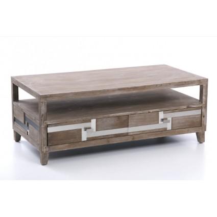 Mesa de centro estilo industrial de madera - BAVIERA