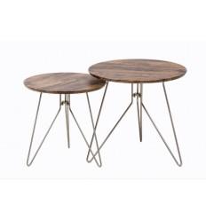 Set de dos mesas auxiliares redondas de madera y metal - TWINGS