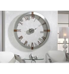 Reloj de pared plateado y madera - TIMES
