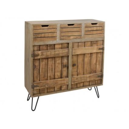 Aparador de madera estilo rústico oscuro - BERGEN