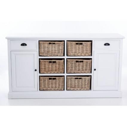Aparador estilo provenzal blanco cajones y puertas - MIMBRE