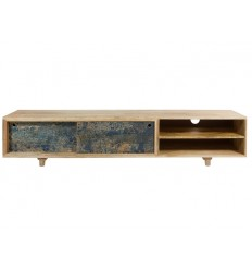 Mueble de televisión estilo vintage jaspeado azul - WOODY