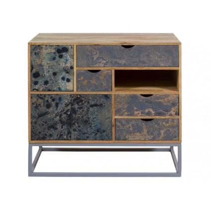 Consola estilo vintage cajones azul jaspeado - WOODY