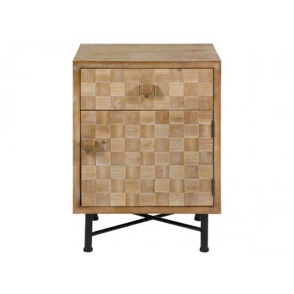 Mesita de noche madera puerta y cajón - CARRÉ
