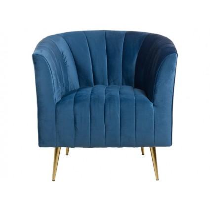 Sillón curvo tela suave azul - ART