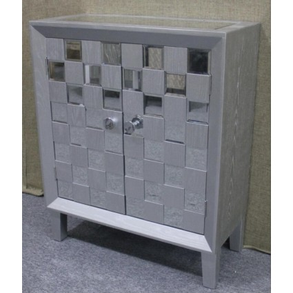 Aparador gris y plata una puerta - SILVER CHESS